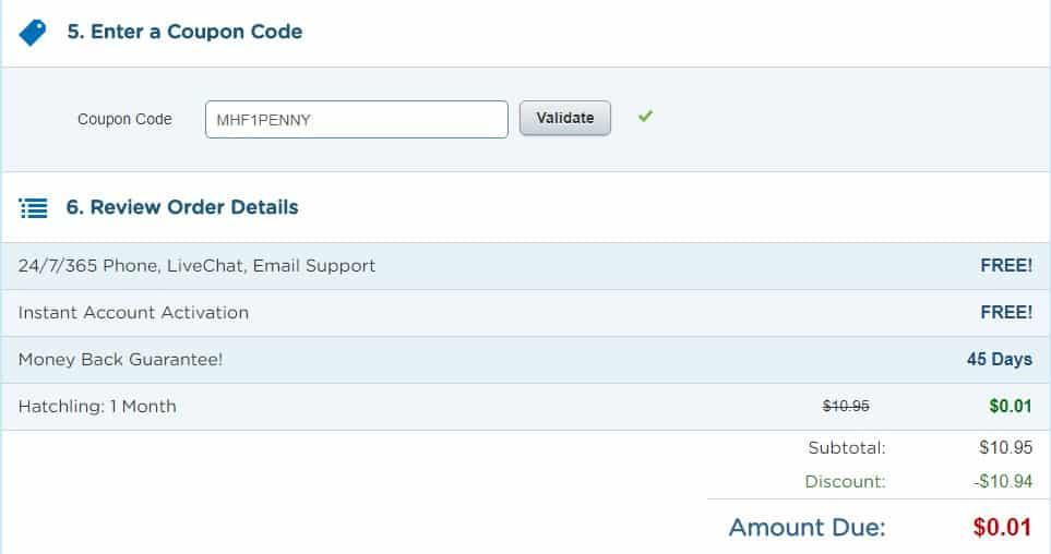 HostGator coupon code 0.01 month