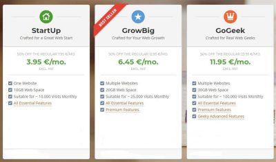 SiteGround shared hosting plans