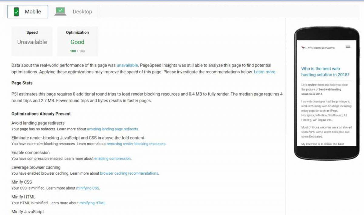 google page insights myhostingfacts 100 score mobile and desktop